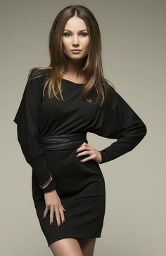 Little Black Dress, Jersey Long Sleeve Kimono Dress Long Tunic.