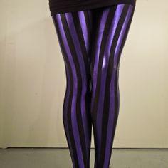 Black And Purple Striped Leggings