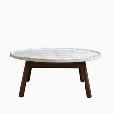 CARVE CIRCULAR COFFEE TABLE (WHITE+WALNUT)