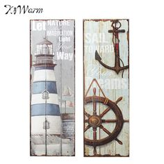 Fashion Mediterranean Style Vintage Nautical Wooden Sign Plaque Art Picture Lighthouse Design for Home Wall Decor Wood Crafts