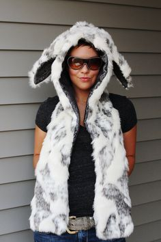 Snow Bunny Flopped Eared Hoodie Scoodie Scarf with by ToppedHats, $78.00