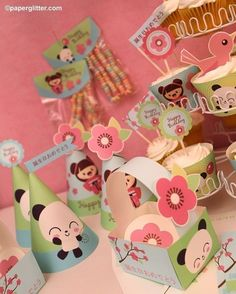 Japanese Kawaii Love Party via paperglitter on Etsy. I love the cute little pandas and cherry blossoms on this one. Japanese Birthday, Japanese Party, Kids Party Decorations, Party Themes, Party Ideas, Kawaii Love, Kawaii Crush, Panda Birthday, Panda Party