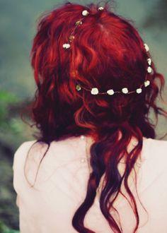 red hair hipster indie flowers pale