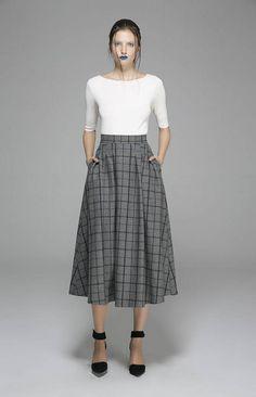 Jupe à carreaux jupe jupe midi sadapter et gris flare