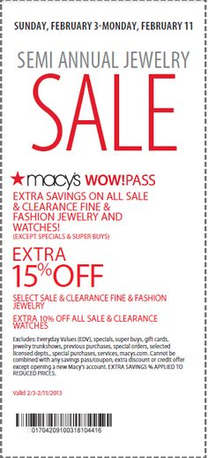 Get 15% OFF on Jewelry with Macy's Printable Coupon