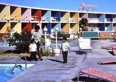 Vintage Las Vegas ~ 1960s photo Flamingo Capri Motel swimming pool area (became the Imperial Palace, now The Quad)