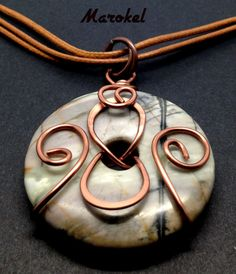 Picasso Marble Donut Necklace Copper Wire Wrapped Hammered Wire Coils Abstract Leather Cord Gray Black Stripe Taupe