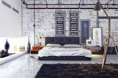 Stylish Masculine Bedroom Design White Brick Wall Combined Glass Wall Dark Brown Bed Using White Sheet Arch Llamp On Dark Brown Rug White Floor Tile Real House Design Mens Bedroom Decor Bedroom Mod Interior Design Manly Room Décor Ideas Industrial Bedroom Design, Industrial Interiors, Industrial House, Industrial Apartment, Industrial Chic, Vintage Industrial, Vintage Modern, Industrial Furniture, Industrial Stairs