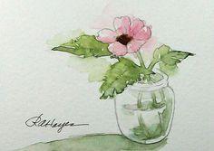 Rosa Blume im Glas Jar Aquarell Blumen Original ACEO