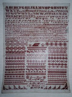 Jane Rees Bristol Orphan House Sampler, 1869, from The Scarlet Letter - in the queue to do!