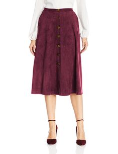NY Collection Women's Faux-Suede Button-Front Midi Skirt: Amazon.in: Clothing & Accessories