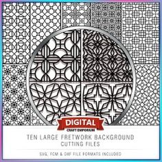 Ten Large Fretwork Background Cutting Files - SVG, DXF and FCM