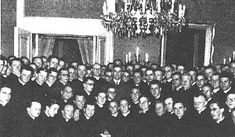 Ante Pavelic, head of the Ustashi state of Croatia surrounded by Croatian Catholic clergy in April,   1942. Pavelic was to Yugoslavia what Hitler was to Germany.