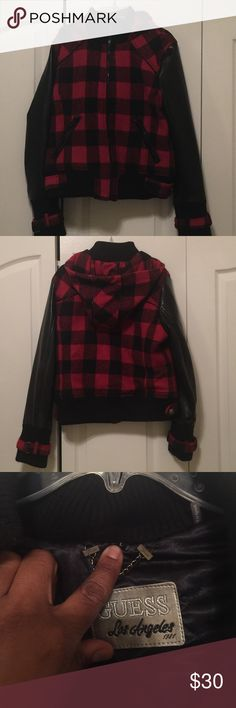 Guess lumber jack and leather like coat Guess lumber jack and leather like coat, size large (junior fit). Guess Jackets & Coats Puffers