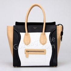 f74a48fd01 Celine luggage tote bag in white black nappa leather GM