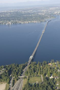 Evergreen Point Floating Bridge (world's longest floating bridge). The bridge spans Lake Washington between Seattle and Medina.