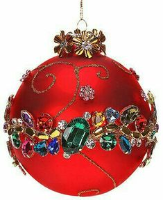 quenalbertini: Mark Roberts Jeweled Red with Multicolored Jewels Ball Ornament Painted Christmas Ornaments, Noel Christmas, Christmas Baubles, Handmade Christmas, Christmas Crafts, Peacock Christmas, Christmas Mantels, Christmas Villages, Beaded Ornaments