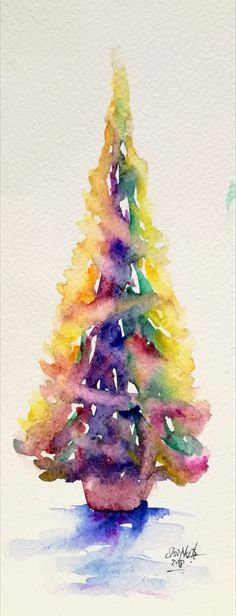 Watercolor, christmas tree. Elsa Nutz Painted Christmas Cards, Stained Glass Christmas, Homemade Christmas Cards, Christmas 2019, Christmas Trees, Christmas Decorations, Xmas Crafts, Christmas Projects, Watercolor Christmas Tree