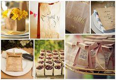 elegant calligraphy on simple brown bags