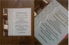 Champagne Post Card wedding invitation with lace www.jenshandcraftedstationery.co.uk www.facebook.com/jenshandcraftedstationery