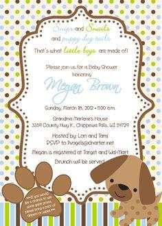 Puppy Theme Baby Shower Invitations
