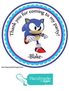 Sonic the Hedgehog1 Personalized Stickers Birthday Party Favors - Treat Tag Toppers- 24 Stickers Popular Size 2.5 Inches. Peel- and- Stick Backing Self-Adhesive Stickers from Custom Party Favors, Handmade Craft , and Educational Products http://www.amazon.com/dp/B01E9M7DHC/ref=hnd_sw_r_pi_dp_GLdexb134MMWB #handmadeatamazon