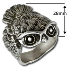 Sterling silver Owl ring by Robert Langford @ Moonstone Jewelry