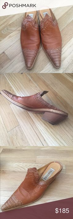 Sartore Paris slip ons Sartore Paris made in Italy  vintage slides western style  genuine leather and snake skin and top stitch detail  Good condition soles slightly worn as shown Sartore Shoes Ankle Boots & Booties