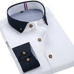 2015 New Solid Color Men's Business Casual Long Sleeved Shirts Men Classic Fashion Small Collar Dress Shirt Black White Shirt Business Casual Men, Business Fashion, Formal Shirts For Men, Casual Shirts, Black And White Shirt, Black White, Mens Kurta Designs, Only Shirt, Winter Outfits Men