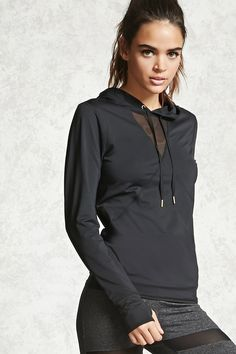 A stretch-knit athletic hoodie featuring a sheer mesh and seam-stitched panels on the front, drawstrings with burnished ends, long sleeves with thumb inserts, and moisture management.