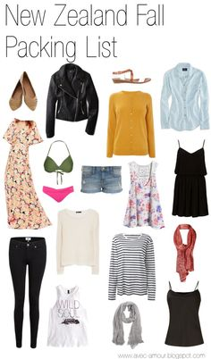 trendy travel new zealand outfit packing lists Fall Packing List, Travel Packing, Packing Lists, Travel Tips, Winter Packing, Travel Destinations, Packing For New Zealand, New Zealand Travel, Travel Wardrobe