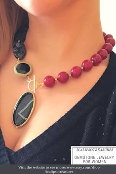 Red ruby lariat necklace perfect Valentines gift for her. This beaded statement necklace in natural gemstones is a perfect gift for girlfriend.  Visit the website to see more.
