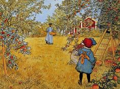 Carl Larsson The Apple Harvest print for sale. Shop for Carl Larsson The Apple Harvest painting and frame at discount price, ships in 24 hours. Cheap price prints end soon. Carl Larsson, Farm Paintings, Apple Harvest, William Turner, Apple Orchard, Large Painting, Museum Of Fine Arts, Haiku, Art Reproductions