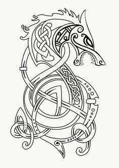 Fenrir wolf, Lokis' son and killer of Odin at Ragnorak. Fenrir Tattoo, Norse Tattoo, Celtic Tattoos, Viking Tattoos, Viking Dragon Tattoo, Art Viking, Viking Symbols, Viking Designs, Celtic Designs