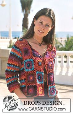DROPS Crocheted Cardigan in Tynn Chenille and Muskat.