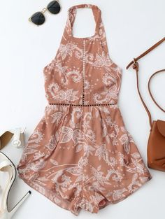 SHARE & Get it FREE | Print Open Back Criss Cross Romper - Brick-redFor Fashion Lovers only:80,000+ Items • New Arrivals Daily Join Zaful: Get YOUR $50 NOW!