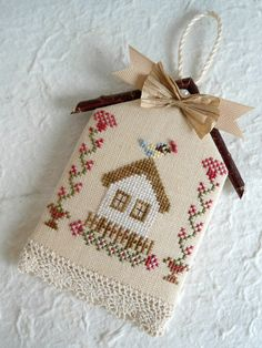 Bluebird Birdhouse Cross Stitched Garden by SnowBerryNeedleArts