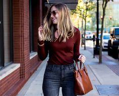 medium length hair cut | lob haircut for thin hair | how to dress up a t-shirt for fall | best high waisted jeans ever | fall outfit idea