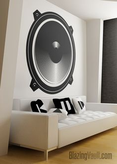 Audio Speaker Wall Decal – Music Wall Sticker Recording Studio Audio Wave Sound Wave Music Producer Gamer Wall Decal by Blazing Vault – audio room ideas Studio Audio, Music Studio Room, Studio 57, 1million Dance Studio, Home Music, Recording Studio Design, Audio Room, Music Wall, Bedroom Themes
