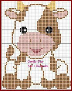 Cross Stitch Cow, Cross Stitch Animals, Modern Cross Stitch, Cross Stitch Charts, Cross Stitch Designs, Cross Stitch Patterns, Crochet Cow, Crochet Chart, Crochet Blanket Patterns