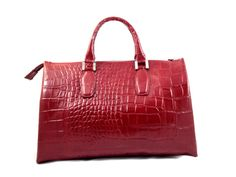 Roxy - Womens #Red Genuine Embossed Leather #TopHandle Handbag. Zip  closure 2 external lateral pockets and 3 internal pockets Color: Red Genuine Italian #Leather Made in Italy. gvgbags.com