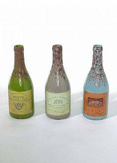 Leaves are Falling - Σετ 3τχ Διακοσμητικά μπουκάλια κρασιού γυάλινα 32cm Hot Sauce Bottles