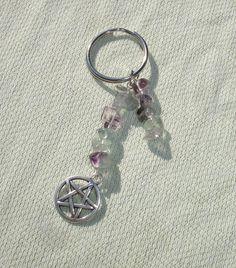 Flourite Gemstone & Pentagram Charm Key Ring - Key Chain