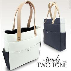 Modern Two Tone Tote with Tandy Leather Accents  Fabric Depot  ad57e8faa9fa3