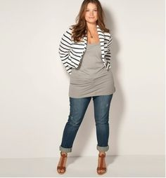 I love seeing plus-size girls in outfits like this... sometimes we want to wear FITTED clothes and not drapey, maternity-type shirts that most stores seem to carry.  I really love this outfit and plan to wear more things like this in the future!