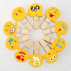 10pcs/pack  free shipping 10 different facial expressions wooden clips,Smile Cartoon Wooden pegs by KJdecoration on Etsy