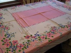 Vintage Pink Floral Tablecloth, Cottage Chic, 64 x 52, French Country, Shabby Cottage Decor by TeresasTreasuresEtc on Etsy