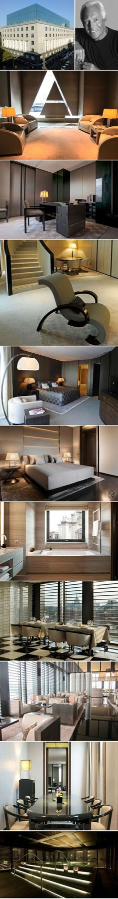 Armani Hotel Milano, Italy in the heart of the Fashion District. Look at the beautiful furnitures all designed by Giorgio Armani. Hotel Lounge, Hotel Spa, Armani Hotel Dubai, Restaurant Hotel, Interior Exterior, Interior Design, Public Hotel, Hotel Architecture, Hotel Interiors
