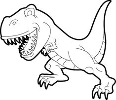 Cartoon T-Rex Coloring Page For Preschoolers | Animal Coloring Pages ...