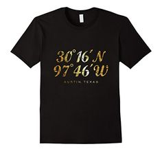 Austin t-shirts with the printed coordinates showing latitude and longitude of the city of Austin, Texas. If you are interested in the city of Austin, Texas, cities, town, towns, navigation, latitude, sailing, hiking, biking, longitude or coordinates, Silicon Hills, ATX or City of the Violet Crown, you might like this shirt.